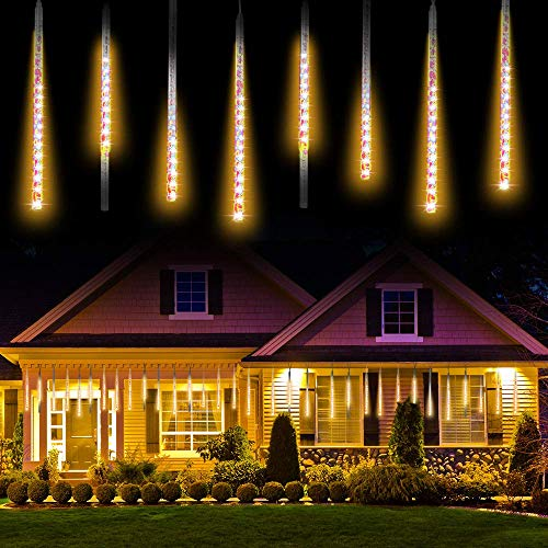 Meteor Shower Rain Lights,TOPIST Waterproof Falling Rain Drop Christmas Lights 30cm 8 Tube Cascading Icicle lights for Holiday Wedding Valentine Xmas New Year Home Hotel Party Road Tree Garden Decor