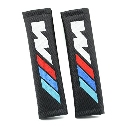 iNewcow Car Automotive Advanced Carbon Fiber Seat Belt Pads Covers With Box and Gift Card (BMW M Logo)