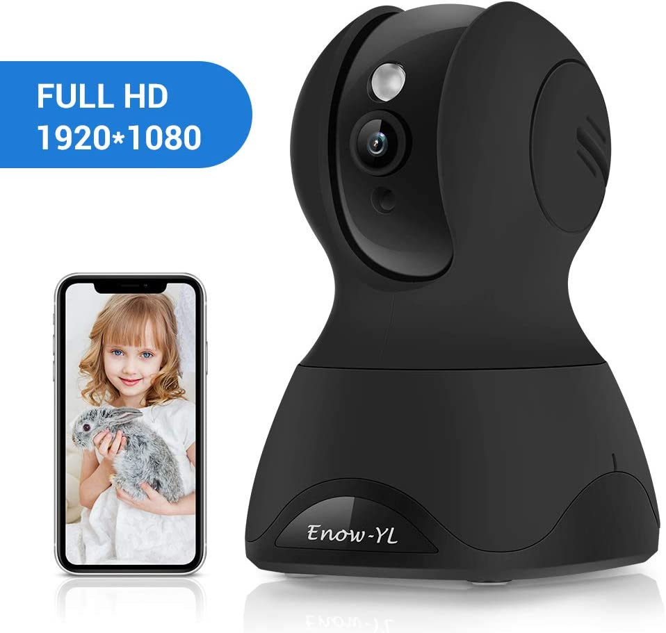 Enow-YL IP Camera, 1080P HD Wireless 2.4G WiFi Surveillance PTZ Indoor Security Dome Camera with Motion Detection, Night Vision, Two Way Audio for Baby Pet Nanny Monitor, Work with Alexa