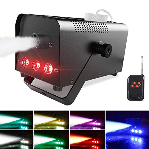 Theefun Halloween Fog Machine with Lights - 6 Stage LED Lights with 7 Colors & Strobe Effect for Party Wedding Holiday, Portable Wireless Remote Control Smoke Machine
