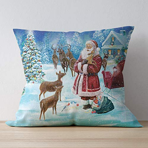 SUNH0ME Zipper Throw Pillowcase Christmas Santa Claus Happy Deer Polyester Home Decorative Throw Pillow Covers for Bed Sofa Office Chair Car Seat Kids Room - 18 x 18 Cushion Case