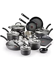 T-fal Hard Anodized Cookware Set, Nonstick Pots and Pans Set, 17 Piece, Thermo-Spot Heat Indicator,  Black