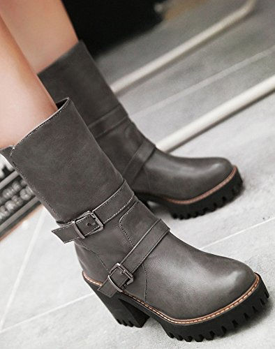 Mid Riding Buckled Chunky Gray Womens Sole Classic Lug Boots Heels IDIFU Platform Booties Calf Mid YUxHwCqWxA