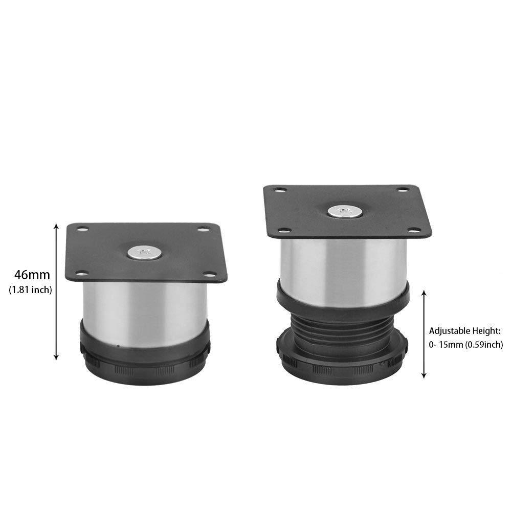 4 patas ajustables redondas de 50 x 50 mm de acero inoxidable para muebles armarios de cocina estantes etc.