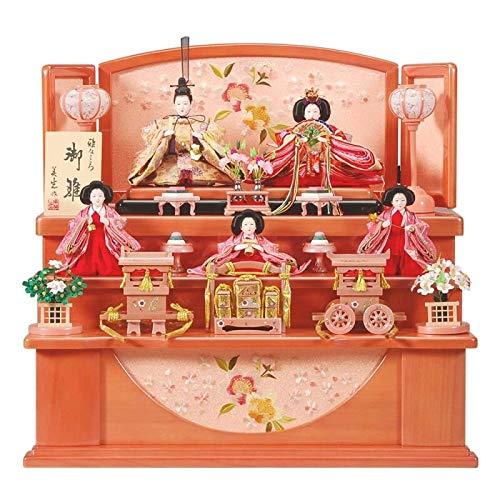 雛人形 五人揃収納飾り 【彩】セット 20号(5人)[幅60cm] パールピンク塗[sb-18-245] 雛祭り   B07KVW15GM