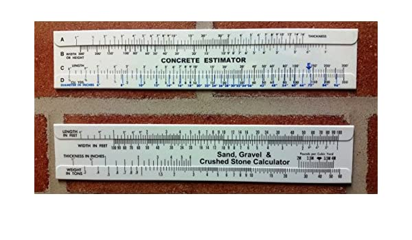 Amazon com : Concrete Sliderule Calculator & Sand, Gravel and