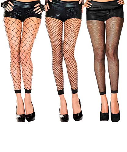 Abberrki Womens High Waist Fishnet Footless Tights Spandex Pantyhose Stockings(3 -