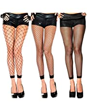 Abberrki Womens High Waist Fishnet Footless Tights Spandex Pantyhose Stockings(3 pairs)