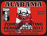 Alabama Zombie Hunting Permit 2012/2013 (Bumper Sticker)