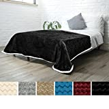 PAVILIA Deluxe Sherpa Fleece Blanket for Twin Bed, Couch, Sofa Super Soft, Plush, Fuzzy Chevron Throw | Reversible, Comfy Wavy, Textured Black Lap Blanket for Home (60 x 80 Inches)