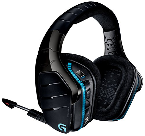 Logitech G933 Artemis Spectrum - Wireless RGB 7.1 Dolby and DST Headphone Surround Sound Gaming Headset - PC, PS4, Xbox One, Switch, and Mobile Compatible - Advanced Audio Drivers - Black