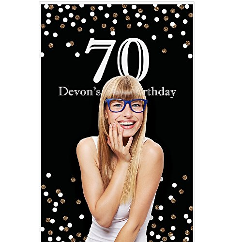 Personalized Photo Booth Backdrop (Custom Adult 70th Birthday - Gold - Personalized Birthday Party Photo Booth Backdrops - 36