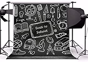 AOFOTO 5x5ft Back to School Backdrop Chalk Drawing Chalkboard Blackboard Painting Photography Background Classroom Study for Knowledge Teacher Classmate Education Student Photo Studio Props Wallpaper