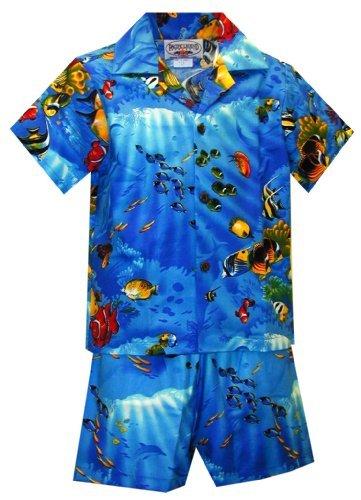 - Pacific Legend Boys Marine Aquarium Fish Toddler 2pc Set Blue 4T for 3yrs old