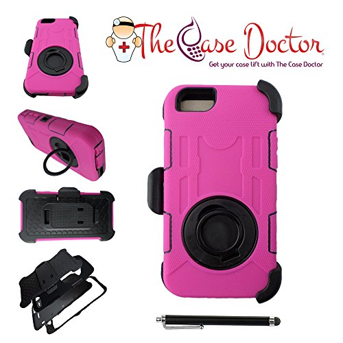 Hot Pink Hard Case - TCD for Apple iPhone 6 PLUS / 6S PLUS [HOT PINK] Industrial Heavy Duty Case [Multi Layer] Soft Silicone/Hard Plastic Hybrid Mix Belt Clip [Stays on your hip] SCREEN PROTECTOR STYLUS