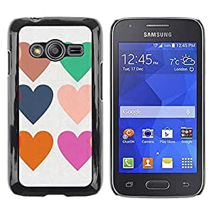 FECELL CITY // Duro Aluminio Pegatina PC Caso decorativo Funda Carcasa de Protección para Samsung Galaxy Ace 4 G313 SM-G313F // Hearts Love Teal Purple Orange White
