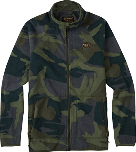 Mens Burton Jacket Fleece Lightweight (Burton Men's Ember Full-Zip Fleece, Beetle Derby Camo, Large)