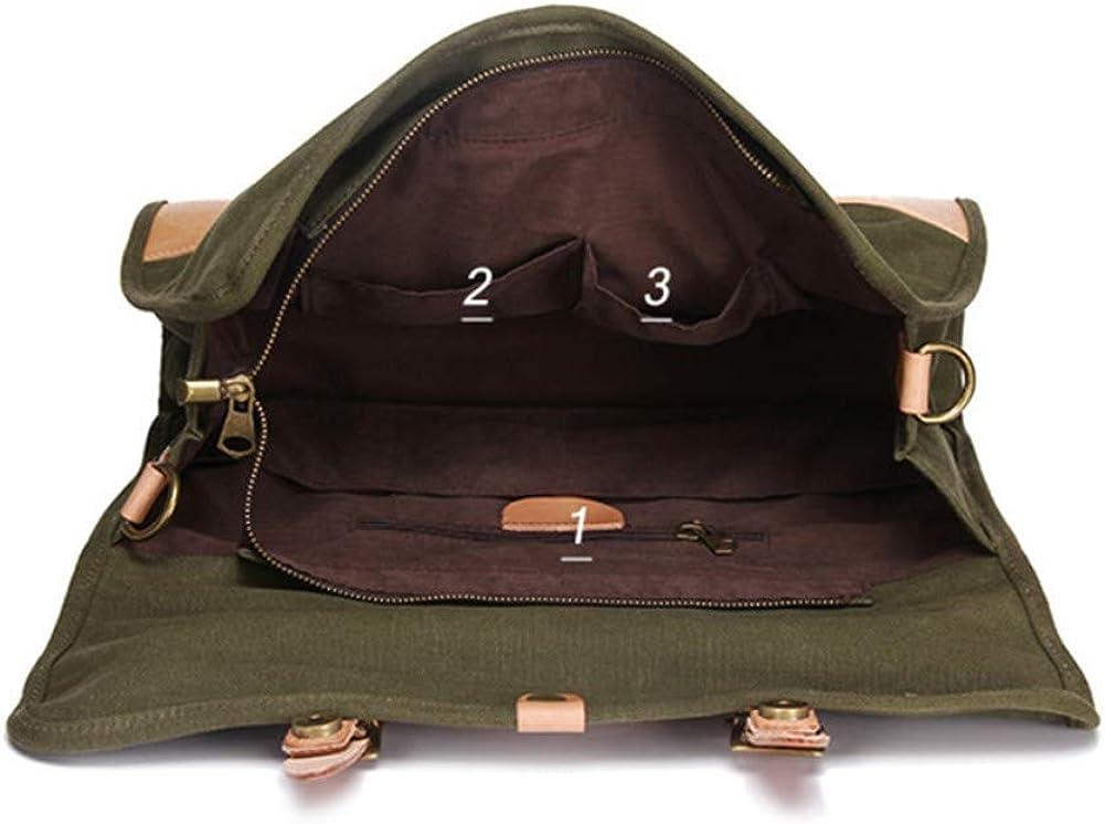 A.OAQRFA Borsa in tela mens borsa spalla orizzontale mens zaino vintage mens bag donna a una spalla Verde Militare
