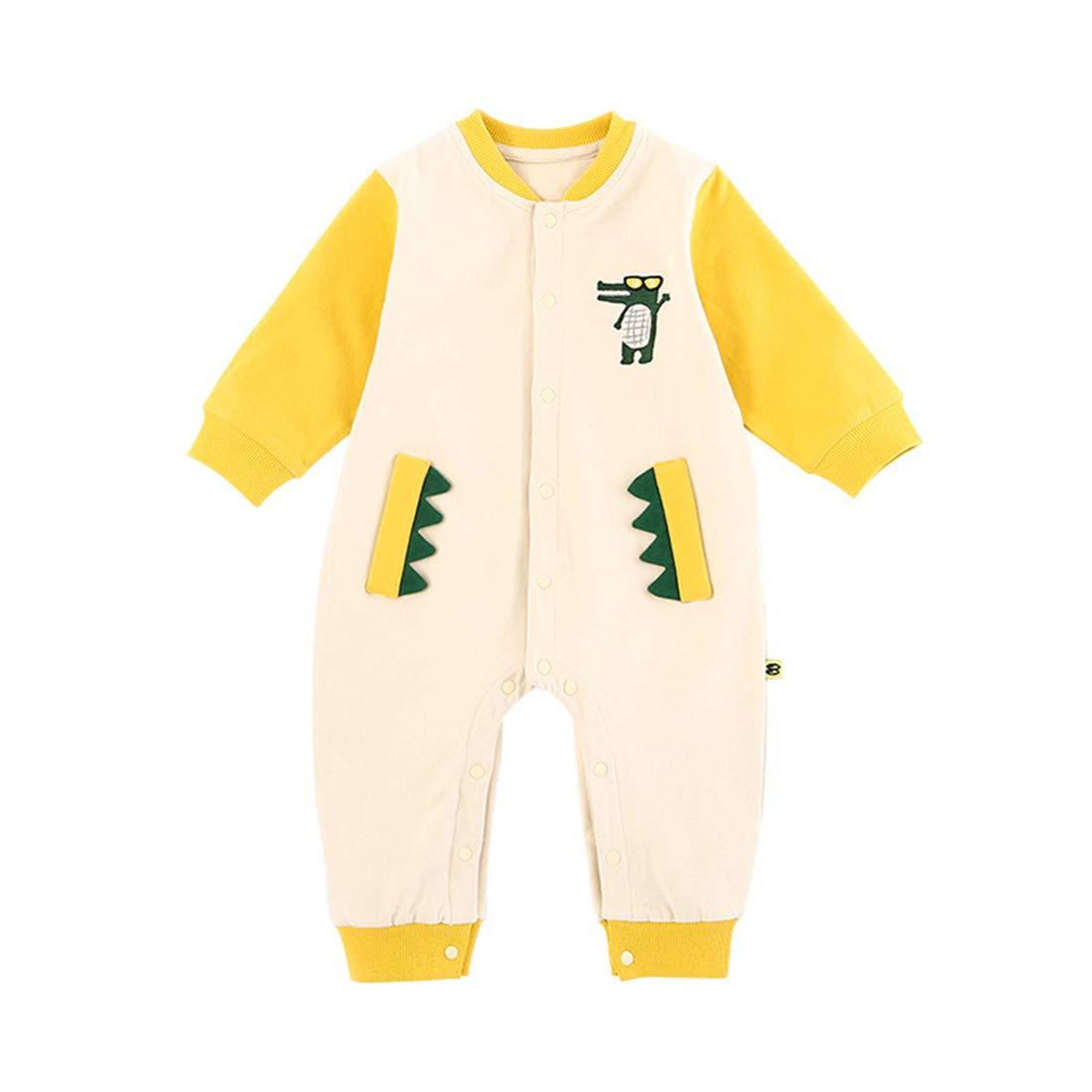 XINXINHAIHE Unisex Baby Long Sleeve Romper Contrast Color Crocodile Design Cotton Jumpsuit