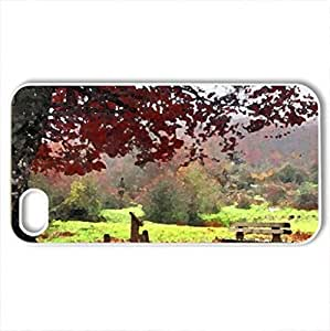 Autumn Path - Case Cover for iPhone 4 and 4s (Forests Series, Watercolor style, White)
