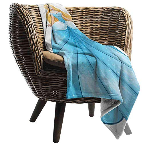ZSUO Blanket Princess,Blue Dress Pearl Necklace Blanket Toddler Size:35