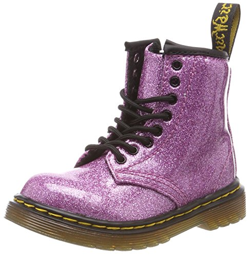 Dr. Martens Kid's Collection Baby Girl's 1460 Patent Glitter Toddler Brooklee Boot (Toddler) Dark Pink Coated Glitter 9 M UK