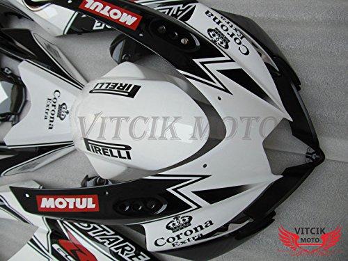 Black /& White A093 VITCIK Fairing Kits Fit for Suzuki GSX-R750 GSX-R600 K8 2008 2009 2010 GSXR 600 750 Plastic ABS Injection Mold Complete Motorcycle Body Aftermarket Bodywork Frame