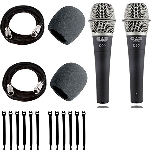 CAD Audio D90 Premium Supercardioid Dymanic Handheld Microphone x 2 with Foam Windscreen x 2 + Mic Cable 20 ft. XLR Bulk x 2 & Strapeez x 2 ()