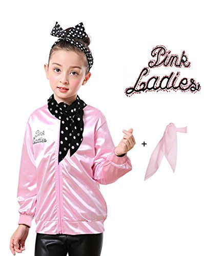 Yan Zhong 1950s Child Pink Ladies Satin Jacket with Neck Scarf T Bird Danny Costume Fancy Dress (with Rhinestone on The Back, Medium) ()