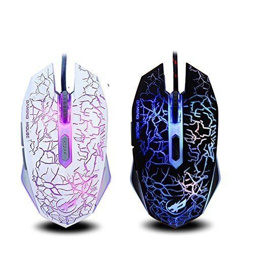 YAMAY Gaming Mouse, USB Corded Mouse Wired Optical 6D 6 Button 800/1200/1600/2400 DPI 0.8mm with BlueLed Light Anti-Slip Built in weighting Iron Professional for Computer Laptop PC Gamer ()