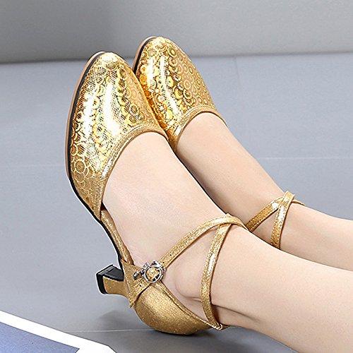 SQIAO-X- Scarpe da ballo in pelle sintetica e suola in gomma a bassa testa rotonda spessa con Square Dance danza moderna danza sociale Professional scarpe da ballo, rosso,41