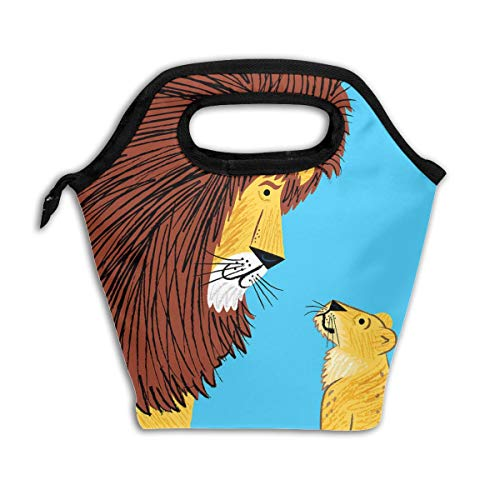 Dialogue Tote - ARCHIE AHMED Lion Dialogue Lunch Bag Tote Bag Insulated Thermal Lunch Organizer Ice Bag Container Handbags with Zipper for Outdoor Travel Picnic