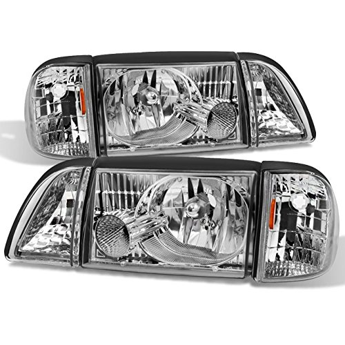 ghts Headlamps w/ Corner & Parking Lights 6Pcs Complete Replacement Pair Set (1993 Mustang Headlights)