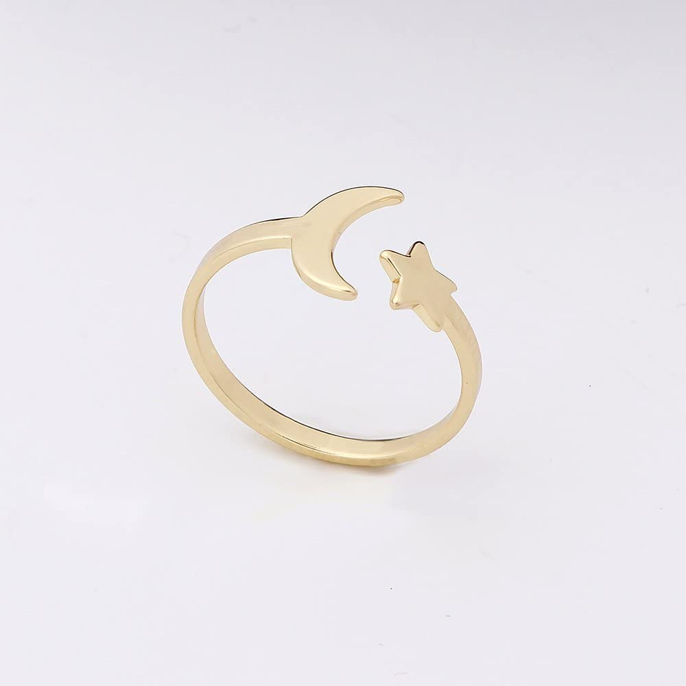 BEICHUANG Adjustable Ring Open Moon Star Cute Fashion Ring Three Color Optional for Girls