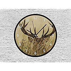 47BuyZHJX Decorative 10 Inchs Round Wall Clock-Whitetail Deer Fawn in Wilderness Stag in Countryside Rural Hunting Theme,Silent Non Ticking Quartz Battery Operated Black Wall Clock.