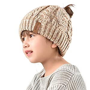 Winter Hats For Girls Ponytail Beanie Hat Kids Toddler Girl Knit Cap Messy Bun, Age 3-10 Years