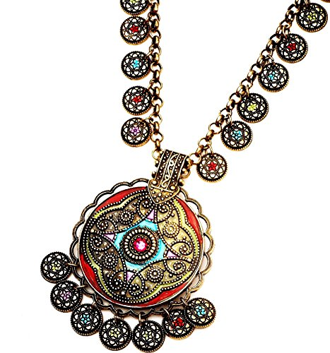 [Colorful Hand Painted Boho Necklace with Dangling Charms Indian Gypsy Jewelry] (Creative One Of A Kind Costumes)