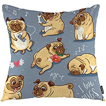 oFloral Dog Throw Pillow Covers Cartoon Pug Pupies Bull Terrier Baby Animal Decorative Square Pillow Case 18