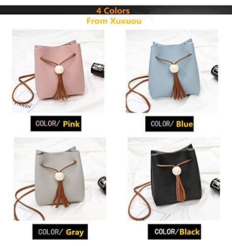 Trendy body Purse Cross Light Small grey 1 Tassels Bucket Shoulder Phone Xuxuou Bags Pull Women's New Pcs Bags Mini Cell Popular Unique fZZxWUqwv4