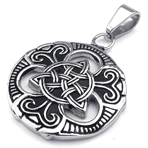 "KONOV Mens Womens Celtic Knot Stainless Steel Pendant Necklace, Black Silver, 24"" inch Chain"