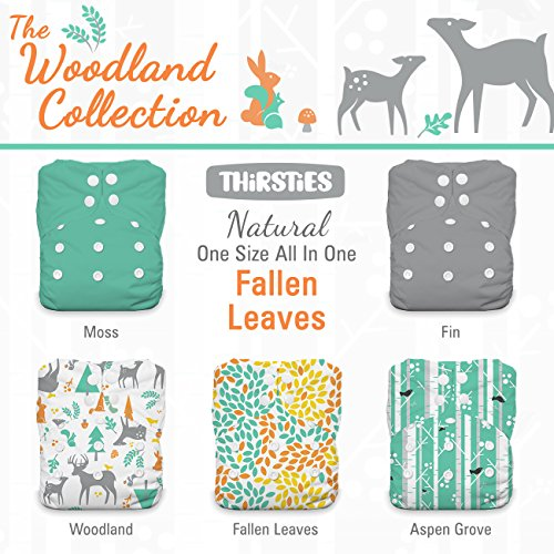 Thirsties Package, Snap Natural One Size All In One, Woodland Collection Leaves