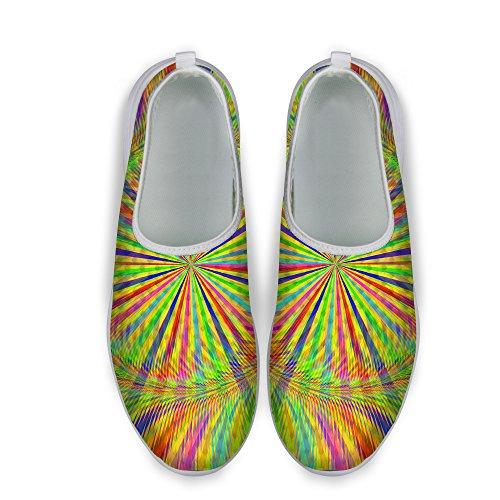 Pour U Conceptions Rayures Colorées Maille Impression Confortable Chaussures De Course À Pied Pour Femmes Vert Clair