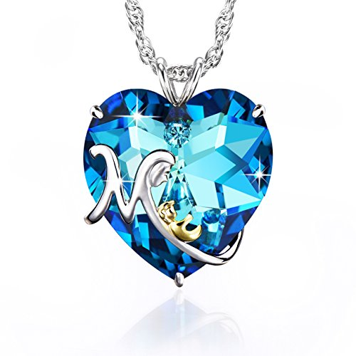 Beyond Love Virgin Mary Mom Heart Necklace With Blue Swarovski Crystal for Women Engraved I Love You (Crystal Mom Necklace)