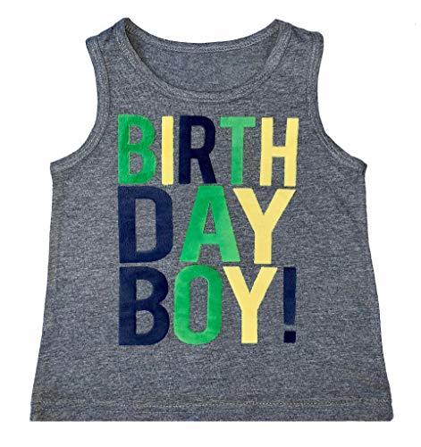 SoRock Birthday Boy Toddler Kids T-Shirt (Grey Tank, 3T)