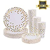 Gold Paper Plates and Cups set for 50 - Disposable Paper Plates and Cups 150 pcs total. Bonus Party Printables Ebook included. (Gold)