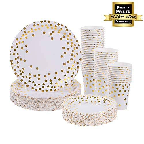 Baby Shower Paper Products - Gold Plates and Cups set for