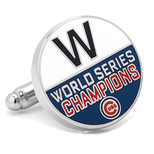 Chicago Cubs 2016 World Series Champions W - Silver Cubs Chicago Cufflinks