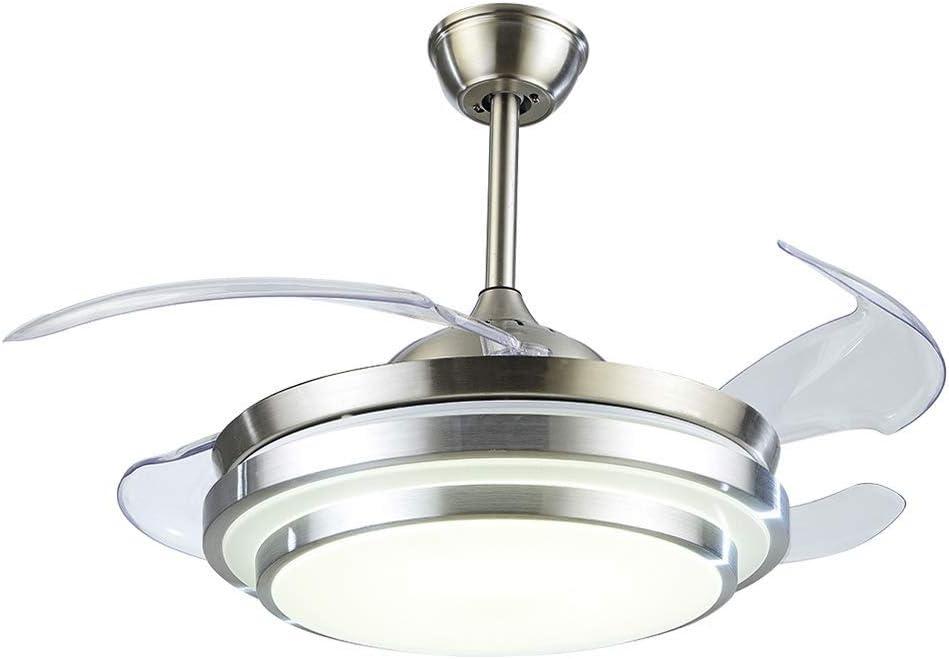 Zzxyxdd Luz del Ventilador Ventiladores de Techo retráctiles Luz con Control Remoto LED Invisible Ventilador de Techo Lámpara Decoración de Arte 107 * 107 * 44 cm (L * W * H)