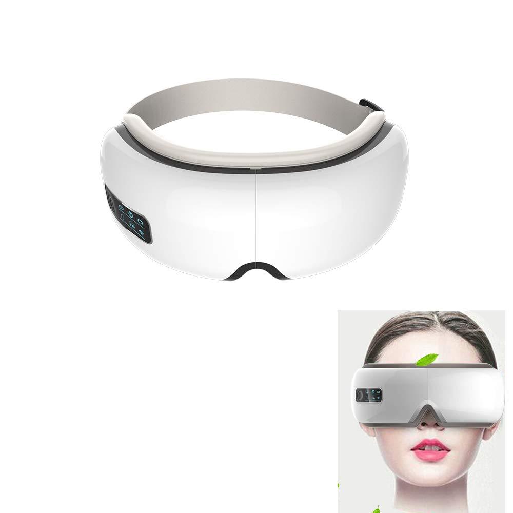 目のマッサージャーの再充電可能な電気マスク、ブルートゥースの音楽無線デジタル目のマッサージャーの圧力振動の頭痛のしわは圧力を取り除きます、白   B07PKT24SM