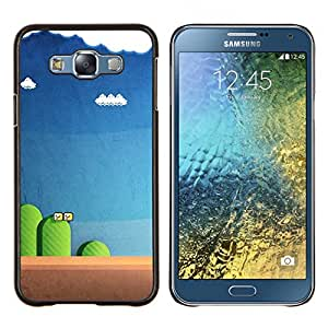 EJOOY---Cubierta de la caja de protección para la piel dura ** Samsung Galaxy E7 E700 ** --juego de ordenador azul pc retro azul